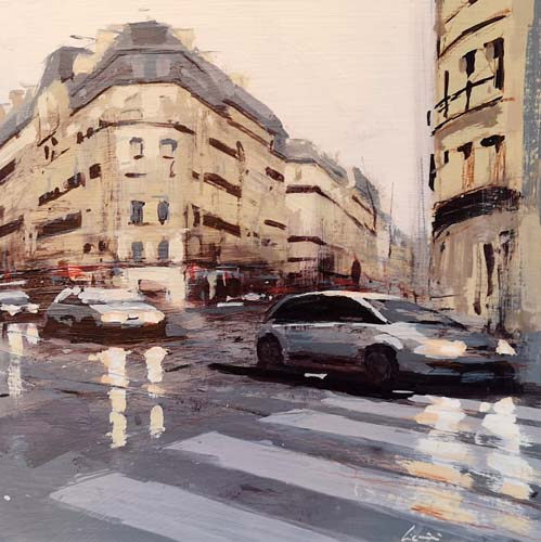 Quadro di Claudio Cionini Auto a Parigi - mista cartone