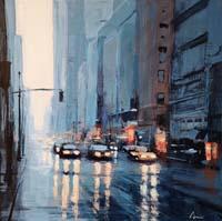 Quadro di Claudio Cionini - New York  in blù acrilico cartone