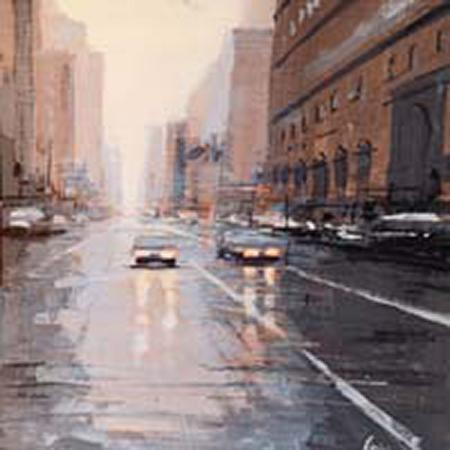 Art work by Claudio Cionini Per strada a New york - mixed cardboard