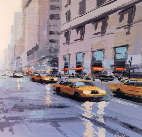 Art work by Claudio Cionini Taxi a New York - mixed cardboard