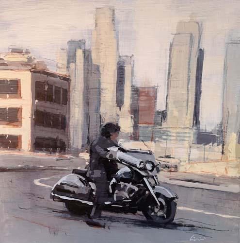 Quadro di Claudio Cionini Moto a Los Angeles - mista carta