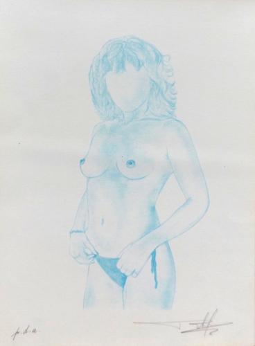 Quadro di firma Illeggibile Nudo senza volto - pastello carta