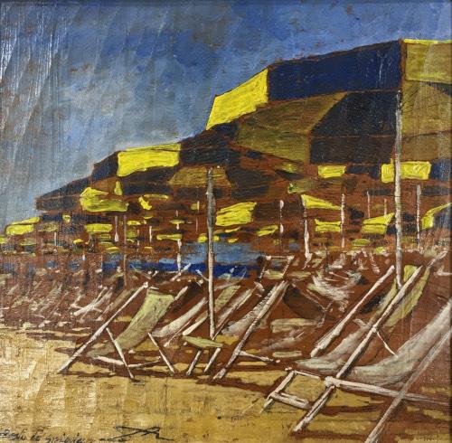 Quadro di Massimo Lomi Resti di spiaggia - tempera tavola