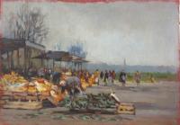 Quadro di firma Illeggibile - Mercato - Firenze olio compensato