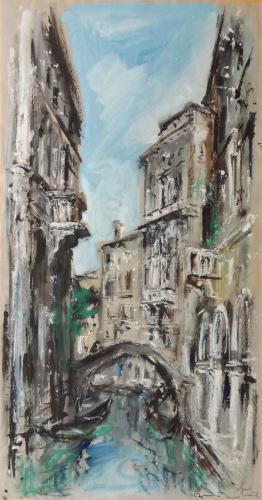 Quadro di Bruno Martini  Ponte a Venezia  - olio carta