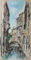 Quadro di Bruno Martini  - Ponte a Venezia  olio carta