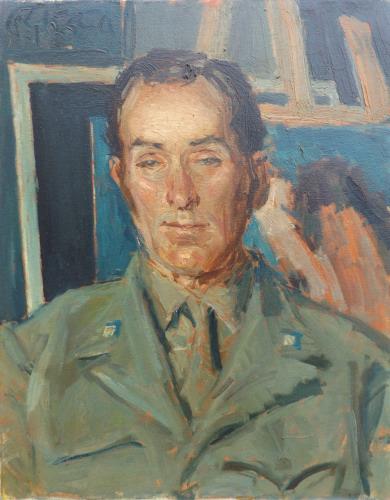Quadro di Paulo Ghiglia Ritratto in divisa - olio tela