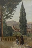 Quadro di Paulo Ghiglia  Frati sulla terrazza panoramica