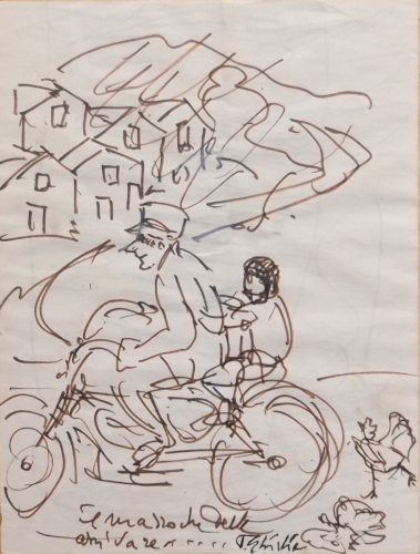Quadro di Paulo Ghiglia Motocicletta  - pennarello carta