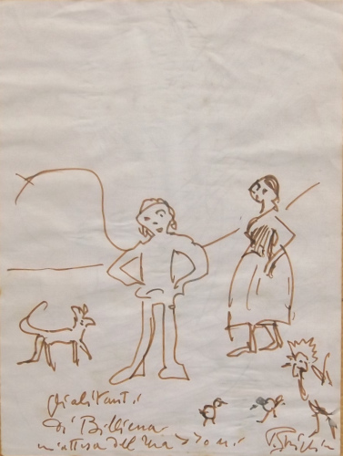 Quadro di Paulo Ghiglia Figure e animali in attesa  - pennarello carta