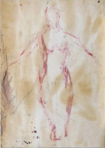 Quadro di Paulo Ghiglia Figura con braccia aperte  - acquerello carta