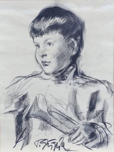 Quadro di Paulo Ghiglia Ritratto di bambino - carboncino carta