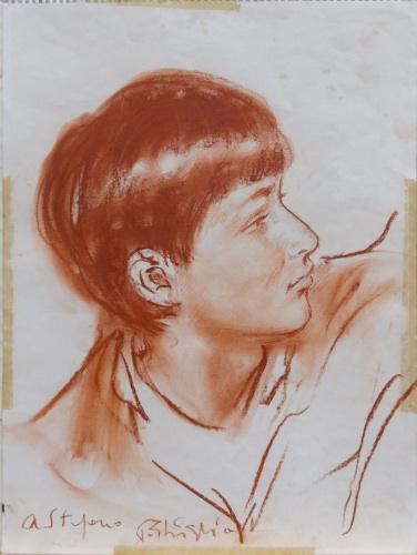 Quadro di Paulo Ghiglia Ritratto di giovane ragazzo - sanguigna carta