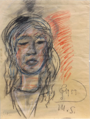 Quadro di Paulo Ghiglia Ritratto di donna  - pastello carta