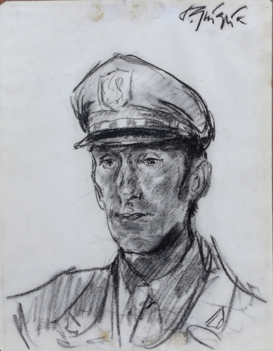 Art work by Paulo Ghiglia Ritratto in uniforme - charcoal paper