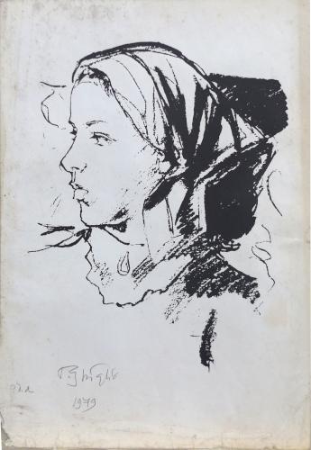 Quadro di Paulo Ghiglia Figura di donna  - litografia carta