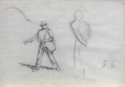 Quadro di Paulo Ghiglia Figura con ombra  - carboncino carta