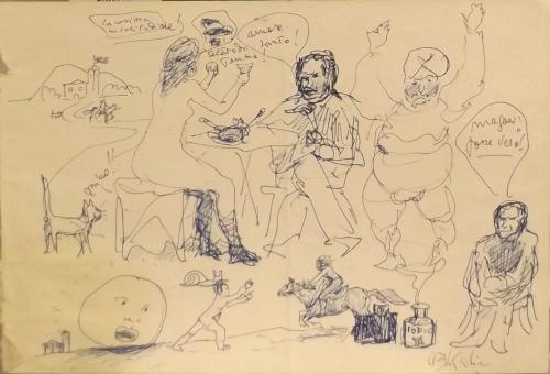 Quadro di Paulo Ghiglia Scenetta  - penna biro carta