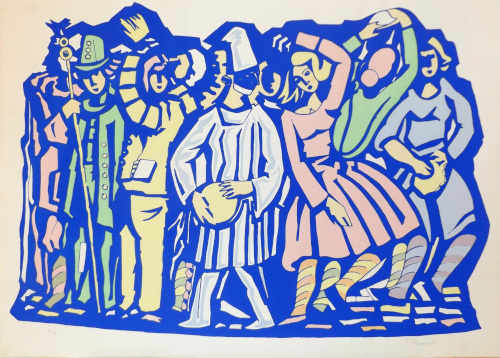 Quadro di Vittorio Piscopo Danza in maschera - litografia carta