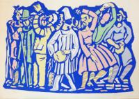 Work of Vittorio Piscopo - Danza in maschera lithography paper