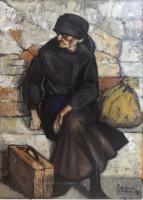 Work of Gianfranco Antoni - Vecchia in partenza oil canvas