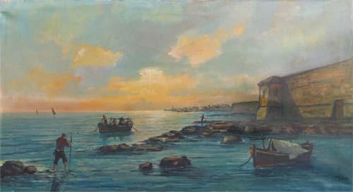 Quadro di  Millus (Mario Illusi) Marina di Livorno - olio tela