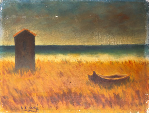 Art work by  Copie d'Autore Marina con barca abbandonata(Carrà) - oil canvas