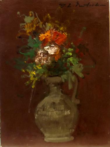 Quadro di firma Illeggibile Vaso di fiori  - olio cartone telato