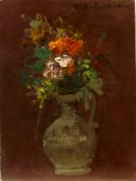 Work of firma Illeggibile - Vaso di fiori  oil canvas cardboard