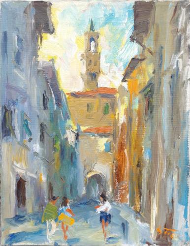 Quadro di Gino Tili Vicolo fiorentino - Pittori contemporanei galleria Firenze Art