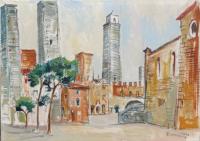 Work of Rodolfo Marma - San Giminiano oil canvas