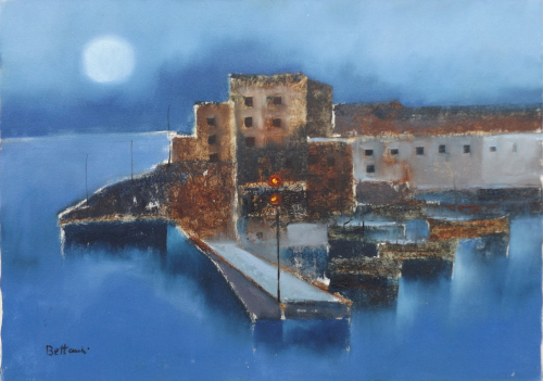 Art work by Lido Bettarini Molo di notte  - oil canvas