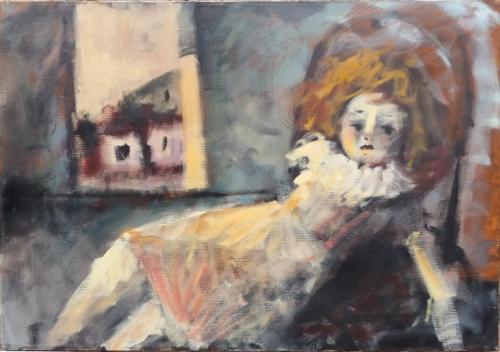 Quadro di  Anonimo Bambola alla finestra  - olio tela