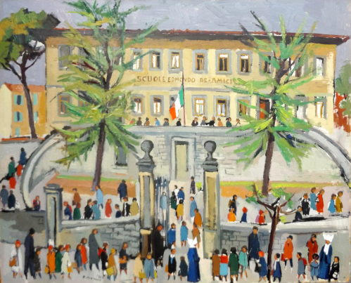 Quadro di Rodolfo Marma La scuola elementare - Pontassieve  - litografia tela