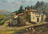 Quadro di Amleto  Danti - Paesaggio con casa colonica a  (Reggello) FI olio compensato