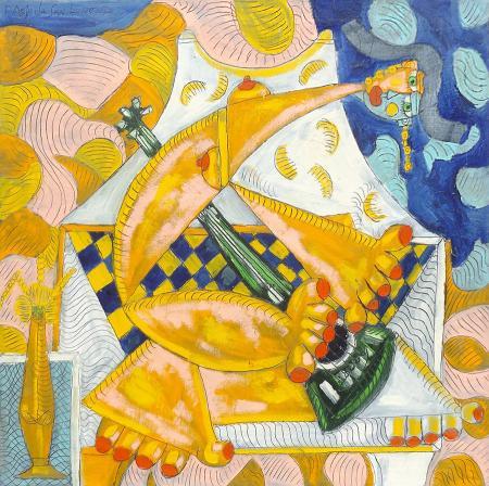 Quadro di Paolo da San Lorenzo Donna con chitarra - olio tela