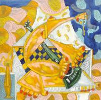 Quadro di Paolo da San Lorenzo - Donna con chitarra olio tela