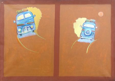 Art work by Cesare Giardini Andata e ritorno - oil canvas