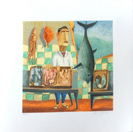 Art work by Pino Procopio Pescivendolo - polymaterial lithography rough paper