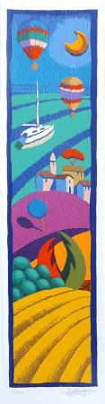Quadro di Stefano Calisti Paesaggio tradizionale - litografia polimaterica carta ruvida