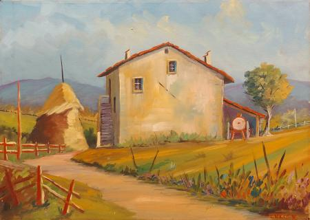 Art work by firma Illeggibile Paesaggio di campagna - oil canvas