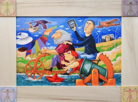 Art work by Pino Procopio In viaggio con Leonardo - polymaterial lithography cardboard