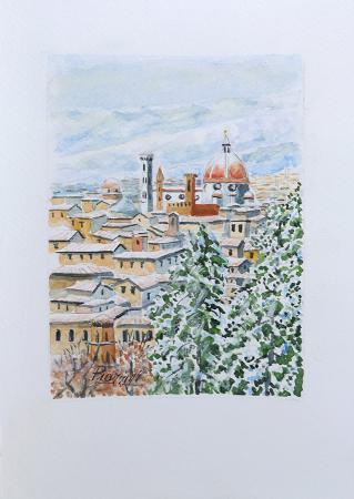 Quadro di Giuliano Piazzini Firenze sotto la neve - acquerello carta