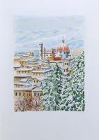 Quadro di Giuliano Piazzini - Firenze sotto la neve acquerello carta