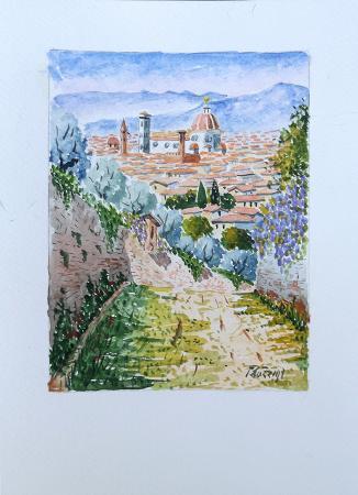 Quadro di Giuliano Piazzini Firenze primaverile - acquerello carta