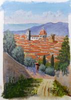 Quadro di Giuliano Piazzini - passeggiata a Firenze acrilico carta
