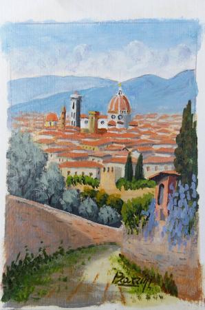 Quadro di Giuliano Piazzini passeggiata a Firenze - acrilico carta