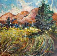 Quadro di Rossella Baldino - Veduta dei boschi olio tavola