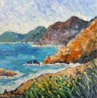 Quadro di Rossella Baldino - Mare e montagne olio tavola