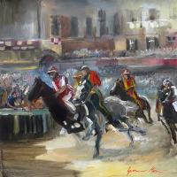 Work of Gianni Mori - Il palio di Siena mixed canvas